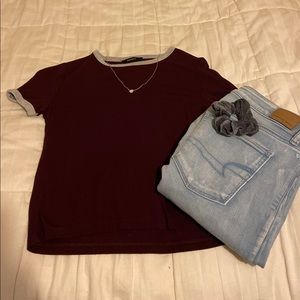 Maroon and grey t-shirt